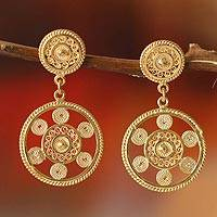 Gold plated filigree dangle earrings, 'Wheel of Life' - Unique Gold Plated Sterling Silver Dangle Earrings from Peru