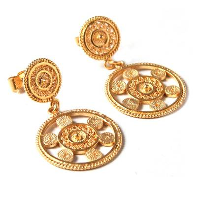 Gold plated filigree dangle earrings, 'Wheel of Life' - Gold Plated Filigree Dangle Earrings