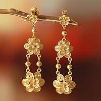 Gold vermeil dangle earrings, 'Garlands' - Floral 21K Gold Vermeil Filigree Dangle Earrings