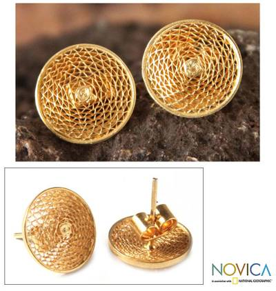 Gold plated filigree stud earrings, 'Starlit Sun' - Handcrafted Gold Plated Button Earrings