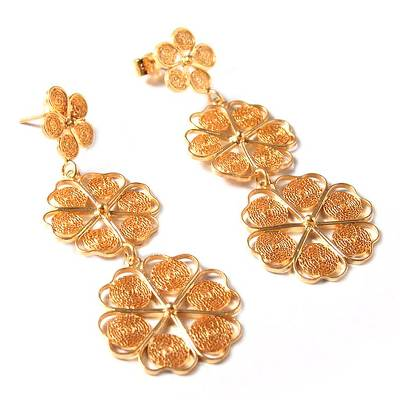 Gold plated filigree earrings, 'Flower Shower' - Fair Trade Floral Gold Plated Earrings