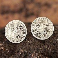 Silver filigree stud earrings, 'Starlit Moon'