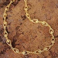 Gold plated chain necklace, 'Love Knot' - Handmade 21K Gold Plated Link Chain Necklace