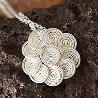 Silver flower necklace, 'Rose of the Wind' - Floral Fine Silver Pendant Necklace
