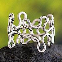Silver band ring, 'Floral Paths' - Modern Fine Silver Band Ring