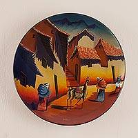 Ceramic plate, 'Andean Village' - Handmade Ceramic Decorative Painted Wall Plate from Peru