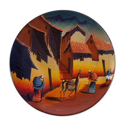 Ceramic plate u0027Andean Villageu0027 - Handmade Ceramic Decorative Painted Wall Plate from Peru  sc 1 st  NOVICA & Handmade Ceramic Decorative Painted Wall Plate from Peru - Andean ...