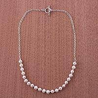 Cultured pearl chain necklace, 'Shimmering Peru' - Handcrafted Peruvian Silver and Pearl Necklace