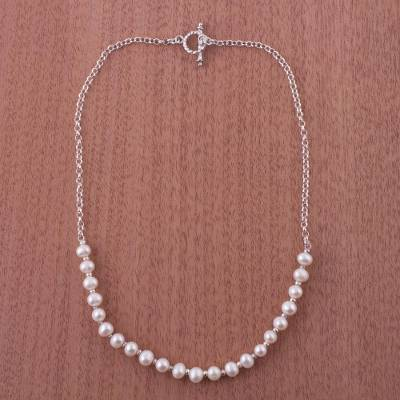 Cultured pearl chain necklace, 'Shimmering Peru' - Cultured Pearl chain necklace