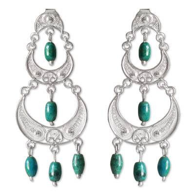 Chrysocolla chandelier earrings, 'Moon Goddess' - Peruvian Silver Filigree Chrysocolla Earrings