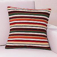 Wool cushion cover, 'Parallel Symphony'