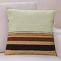 Wool cushion cover, 'Parallel Contrasts'