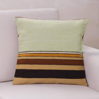 Wool cushion cover, 'Parallel Contrasts' - Geometric Wool Striped Green Cushion Cover from Peru