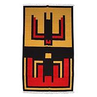 Wool rug, 'Hummingbird' (6x9.5) - Handcrafted Traditional Peruvian Wool Rug (6x9.5)