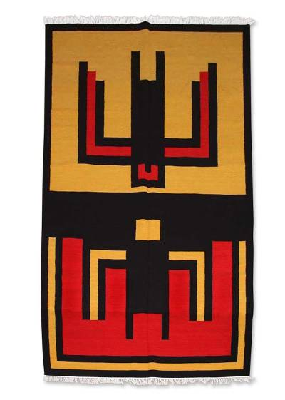 Wool rug, 'Hummingbird' (6x9.5) - Wool rug (6x9.5)
