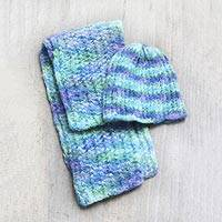 100% alpaca hat and scarf, 'Andean Spring' - 100% alpaca hat and scarf