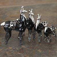 Blown glass with silver leaf figurines, 'Silver Moche Llamas' (set of 4) - Blown glass with silver leaf figurines (Set of 4)