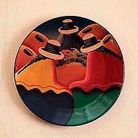 Ceramic plate, 'Andean Trio' - Unique Ceramic Decorative Plate