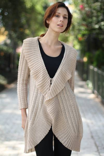 100% alpaca cardigan, 'Arequipa Rose' - Handcrafted Alpaca Wool Cardigan Sweater
