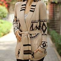100% alpaca cardigan, 'Andean Sierra' - Alpaca Wool Patterned Cardigan Sweater