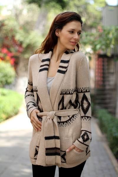 ab7dfafe8 Alpaca Wool Patterned Cardigan Sweater - Andean Sierra