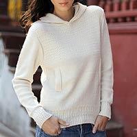 100% alpaca hoodie sweater, 'Arequipa Winter' - Handcrafted Alpaca Blend Hoodie Sweater