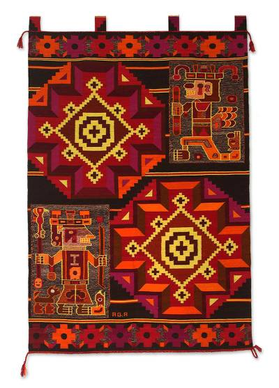 Wool tapestry, 'Wari Warriors' - Wool tapestry