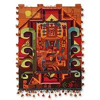 Wool tapestry, 'Wari Sun Adoration' - Wool tapestry