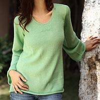 Alpaca blend sweater, 'Mint Charisma' - Handcrafted Alpaca Blend Sweater