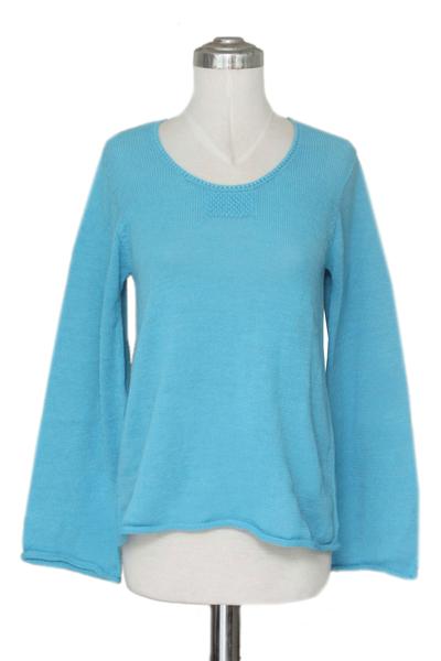 Alpaca blend sweater, 'Sky Blue Charisma' - Unique Alpaca Wool Pullover Sweater from Peru