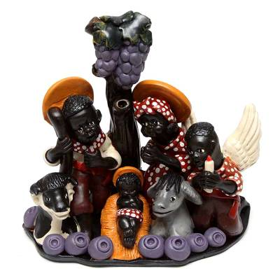 Ceramic nativity scene, 'Christmas in a Vineyard' - Ceramic nativity scene