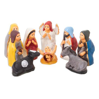 Nativity Scene Ceramic Christmas Sculpture (10 Pieces)