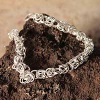 Sterling silver link bracelet, 'Sweet Union'
