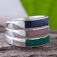 Rose quartz and sodalite stacking rings, 'Enchanted' - Unique Fine Silver Multi-Stone Sodalite Rose Quartz Ring