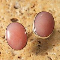 Opal button earrings, 'Andean Love' - Hand Crafted Peruvian Rose Quartz Button Earrings