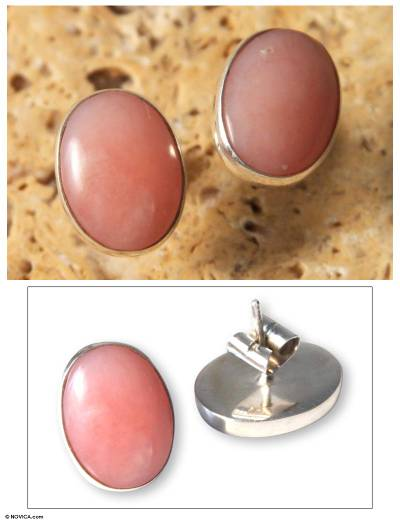 Rose quartz button earrings, 'Andean Love' - Hand Crafted Peruvian Rose Quartz Button Earrings
