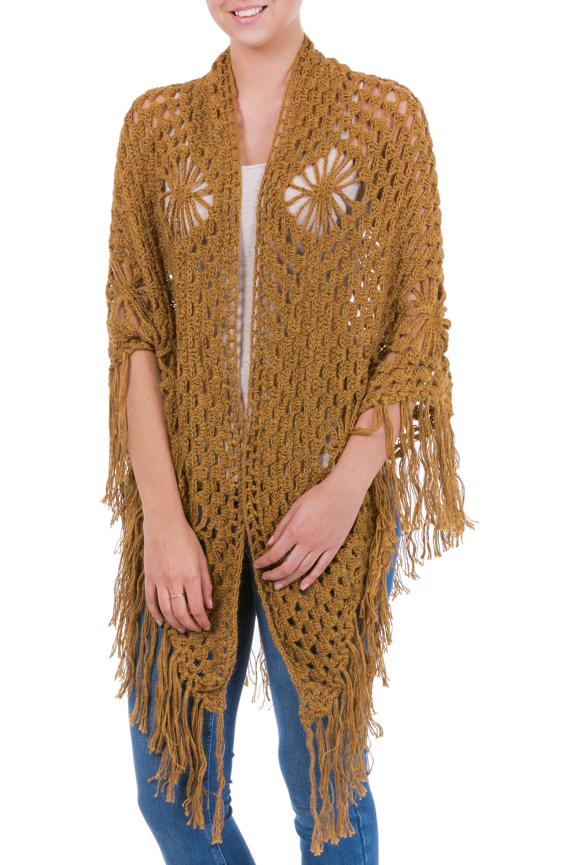 Handcrafted Floral Alpaca Wool Crochet Shawl, 'Winter Empress'