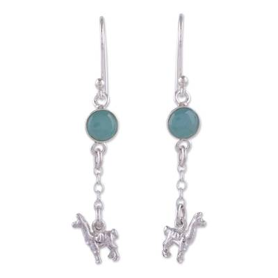 Opal dangle earrings, 'Llama Light' - Artisan Opal and Sterling Silver Dangle Llama Earrings