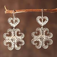 Sterling silver flower earrings, 'Heart of Beauty' - Sterling silver flower earrings
