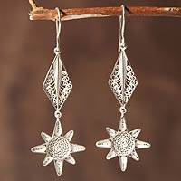 Sterling silver filigree earrings, 'Inca Sun' - Sterling silver filigree earrings