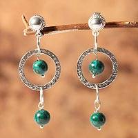 Chrysocolla dangle earrings, 'Sacred Lakes' - Chrysocolla and Silver Dangle Earrings