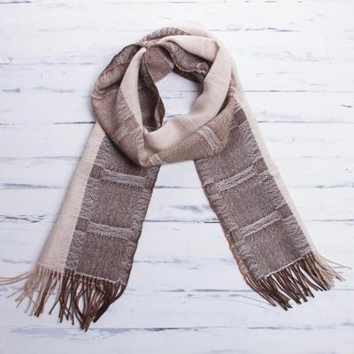 edce507743bc7 Men's 100% alpaca scarf, 'Nazca Warmth' - Hand Crafted Men's Alpaca Wool