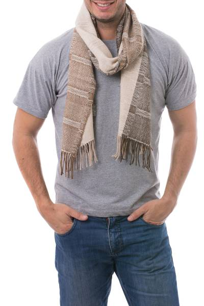 Men's 100% alpaca scarf, 'Nazca Warmth' - Hand Crafted Men's Alpaca Wool Patterned Scarf