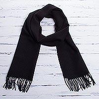 Men's 100% alpaca scarf, 'Cuzco Night' - Men's Alpaca Wool Black Scarf from Peru