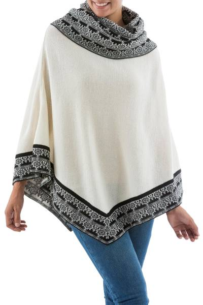 100% alpaca poncho, 'Queen of Huarascaran' - Fair Trade Alpaca Wool Poncho from Peru