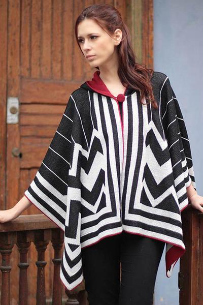 100% alpaca hooded ruana cloak, 'Peru Deco' - 100% alpaca hooded ruana cloak