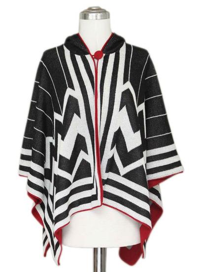 100% alpaca hooded ruana cloak