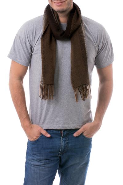 Men's 100% alpaca scarf, 'Puno Winter' - Collectible Alpaca Wool Patterned Scarf