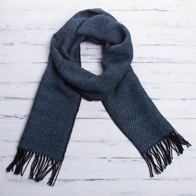 Men's 100% alpaca scarf, 'Lake Arapa Night' - Men's 100% alpaca scarf