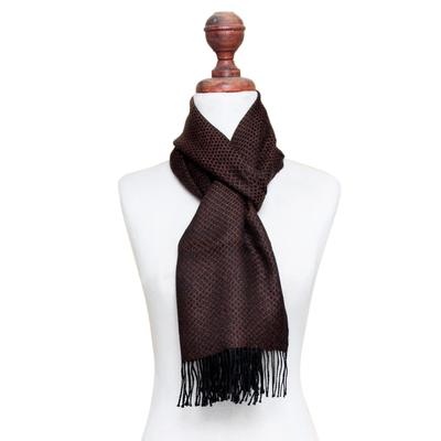 Men's 100% alpaca scarf, 'Mantaru Night' - Men's Dark Brown and Black 100% Alpaca Scarf from Peru
